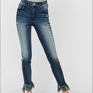 Express Jeans - Express High Waisted Raw Hem Frayed Jeans | 6